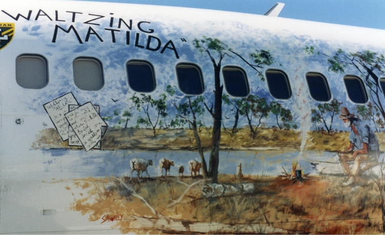 In the mid-1990s, Ansett painted a Waltzing Matilda mural on the side of one of its Boeing 737-300s