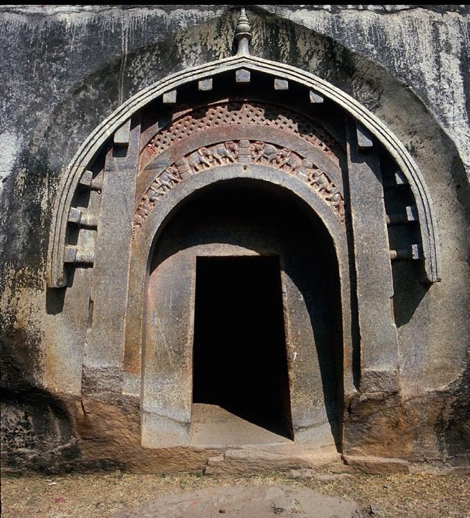 The facade of Lomas Rishi cave, Barabar Hills, Bihar