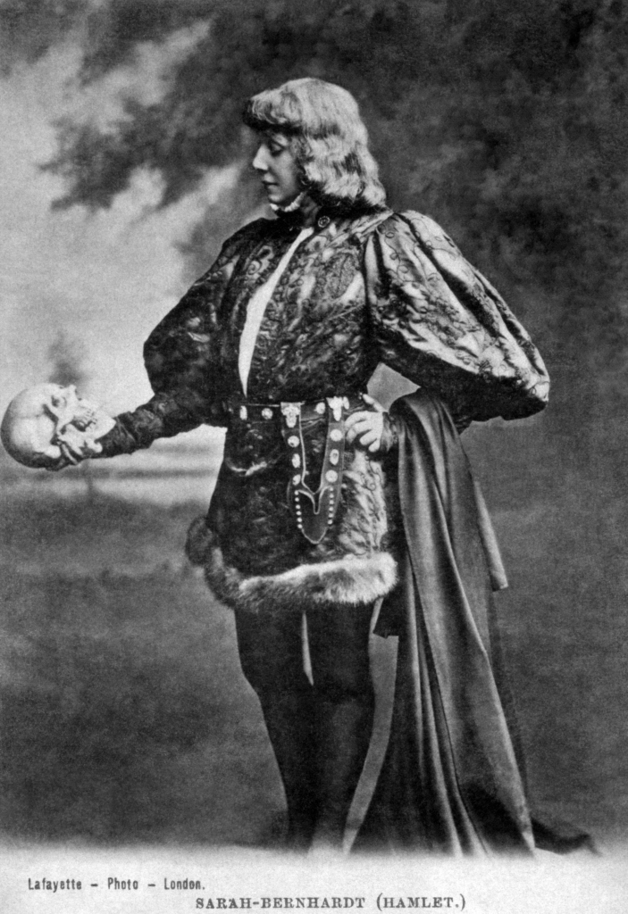 "Sarah Bernhardt as Hamlet '…she described her character as ""manly and resolute, but nonetheless thoughtful…[he] thinks before he acts, a trait indicative of great strength and great spiritual power"".' (Wikipedia)"