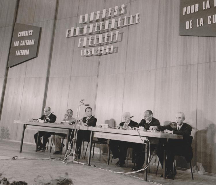 Commemorating its tenth year, the opening of the CCF's second Berlin conference in June 1960 featured (L to R): George F. Kennan, Raja Rao, Willy Brandt, Jacques Maritain, Arthur Schlesinger Jr. and J. Robert Oppenheimer