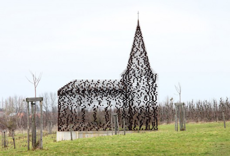 The 'disappearing' church, Limburg, Belgium
