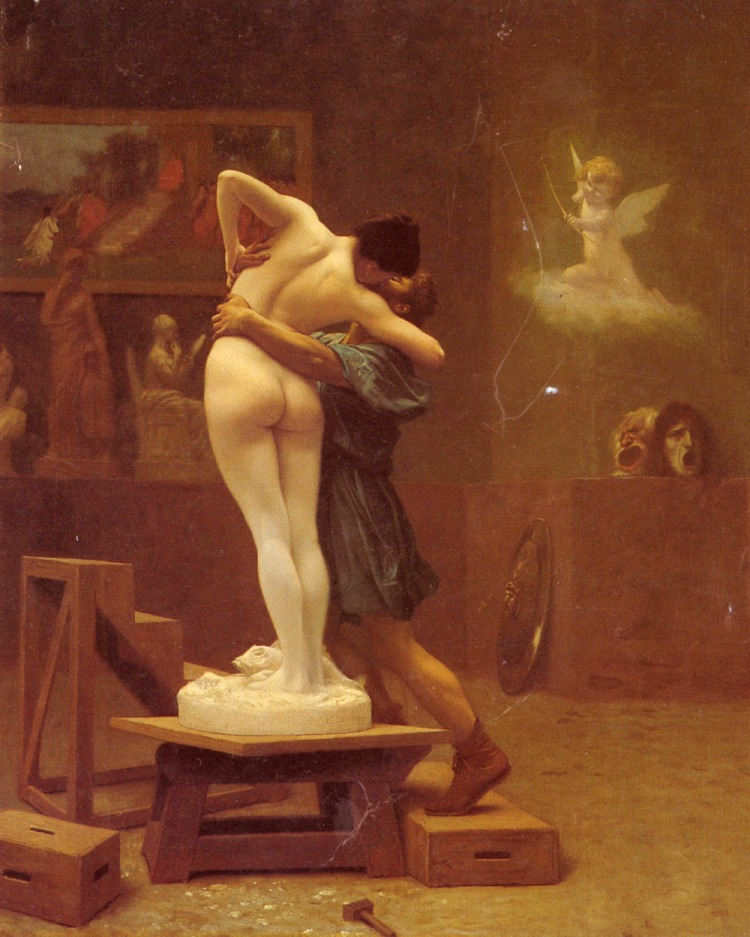 Jean-Léon Gérôme (1824-1904), Pygmalion and Galatea, oil on canvas, 1890. The Metropolitan Museum of Art, New York. 'Take an example from love: so long as the attention is upon the visible form, love has not entered: when from that outward form the lover elaborates within himself, in his own partless soul, an immaterial image, then it is that love is born, then the lover longs for the sight of the beloved to make that fading image live again. If he could but learn to look elsewhere, to the more nearly formless, his longing would be for that: his first experience was loving a great luminary by way of some thin gleam from it.' Enneads VI.7.33