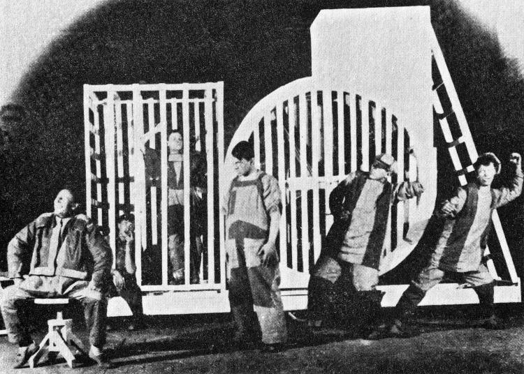 Varvara Stepanova. Photograph of performance of Tarelkin's Death, 1922.
