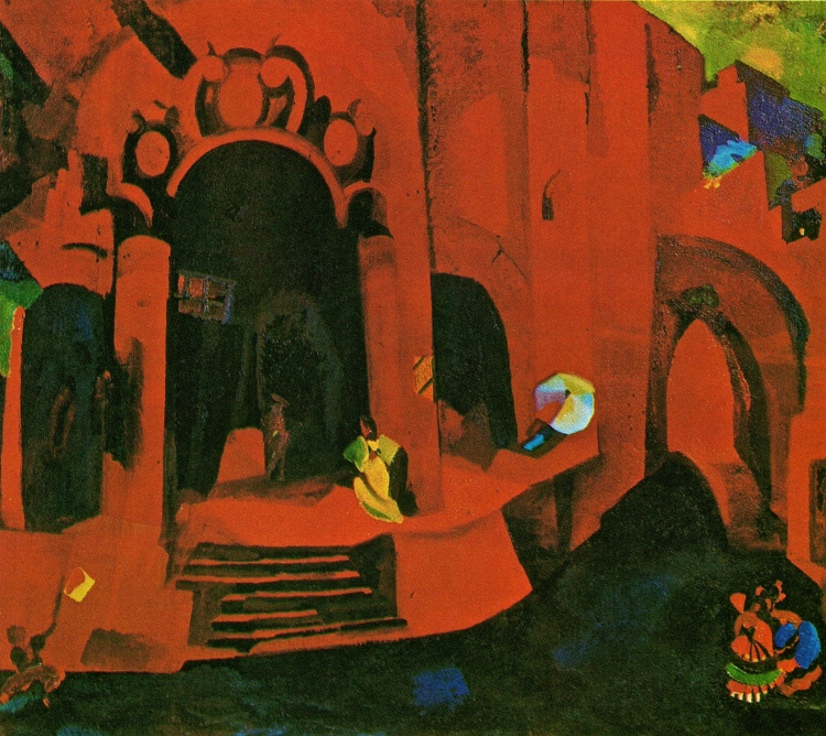 Fiodor Fiodorovsky. Decor design for Bizet's opera Carmen, 1922. Gouache, lead white and varnish. Museum of the Bolshoi Theatre, Moscow