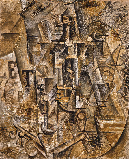 Pablo Picasso, Still LIfe with a Bottle of Rum, 1911, oil on canvas, Metropolitan Museum of Art, New York (image, Wikipedia)