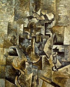 Georges Braque, 1910, Violin and Candlestick, oil on canvas, San Francisco Museum of Modern Art. Image, Wikipedia