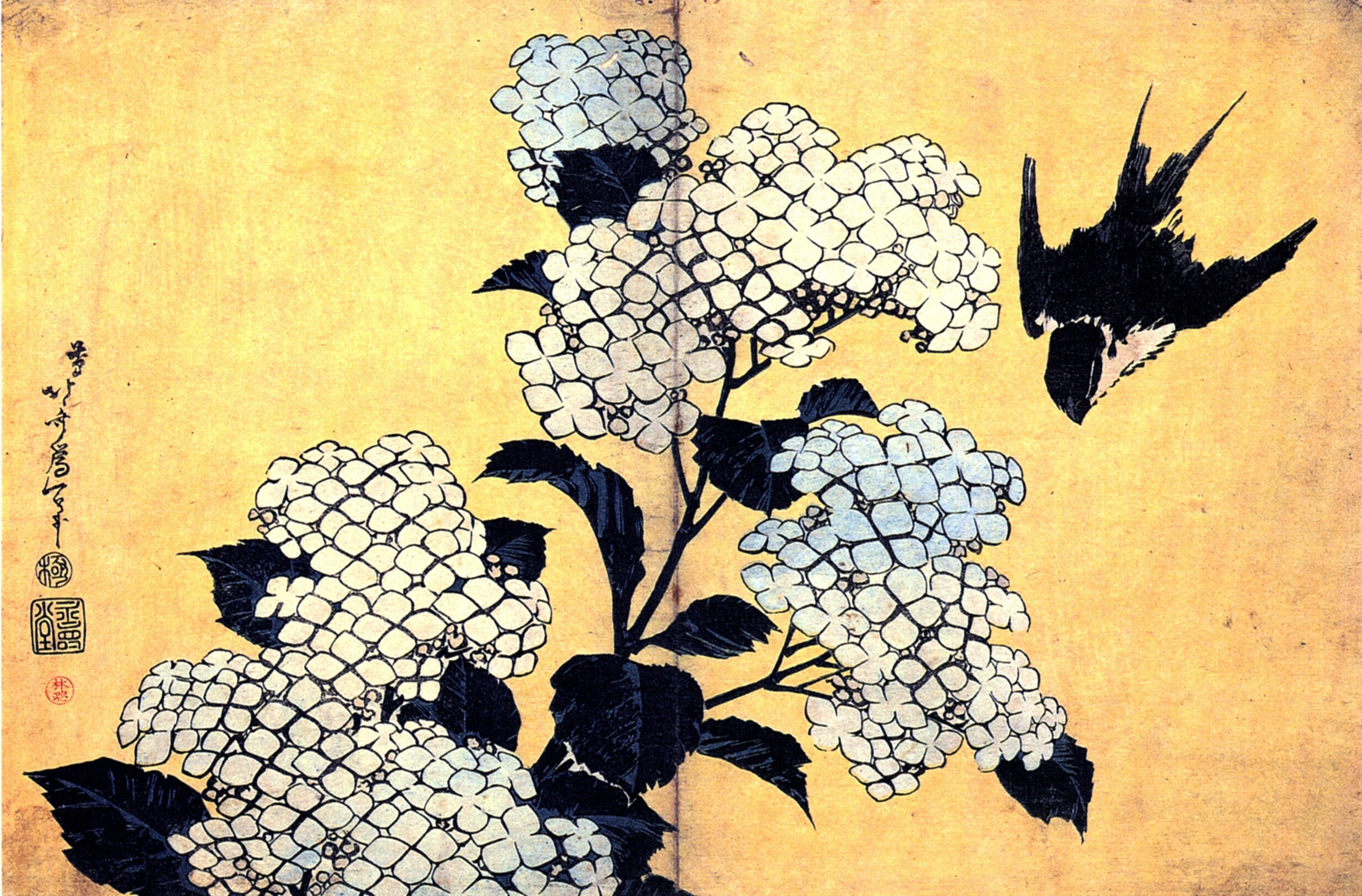 Hydrangea and Swallow, Katsushika Hokusai, n.d., Guimet Museum, Paris