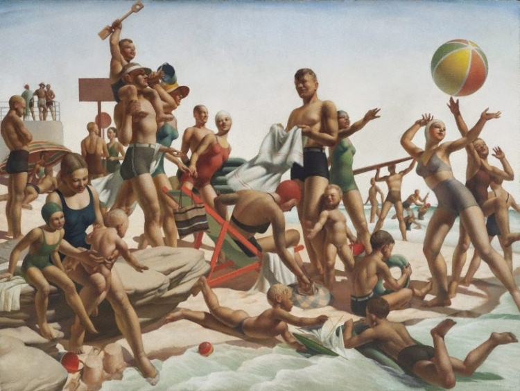 Charles Meere, 'Australian beach pattern', oil on canvas, 1940, Art Gallery of NSW; 'a tableau of beach goers whose athletic perfection takes on monumental, heroic proportions…the myth of the healthy young nation symbolised by the tanned, god-like bodies of the sunbathers.'