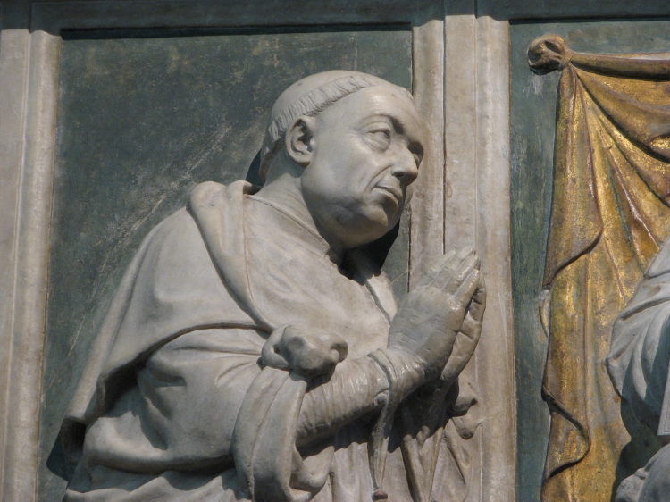 Nicholas of Cusa (1401-1464), detail of relief 'Cardinal Nicholas before St. Peter' on his tomb by Andrea Bregno, church of St. Peter in Chains, Rome