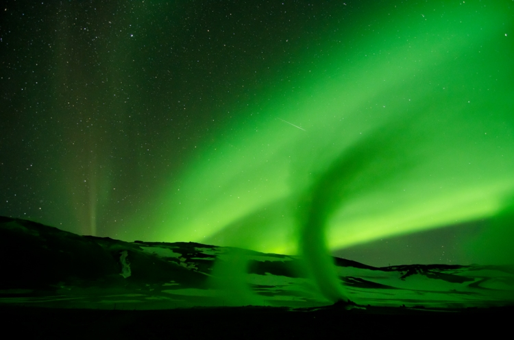 The Northern Lights, Hverir Geothermal Area, Myvatn, Iceland