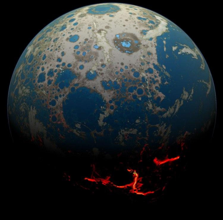 Four billion BCE: Battered Earth