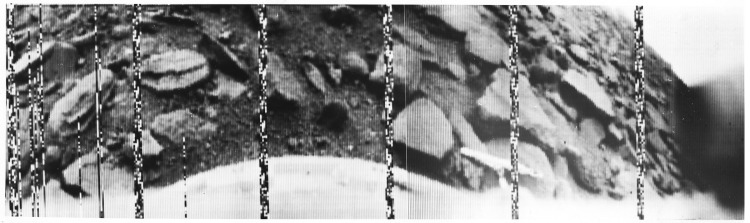 The first image (a 180 degree panorama) sent from another planet (Venus). Venera 9, 1975