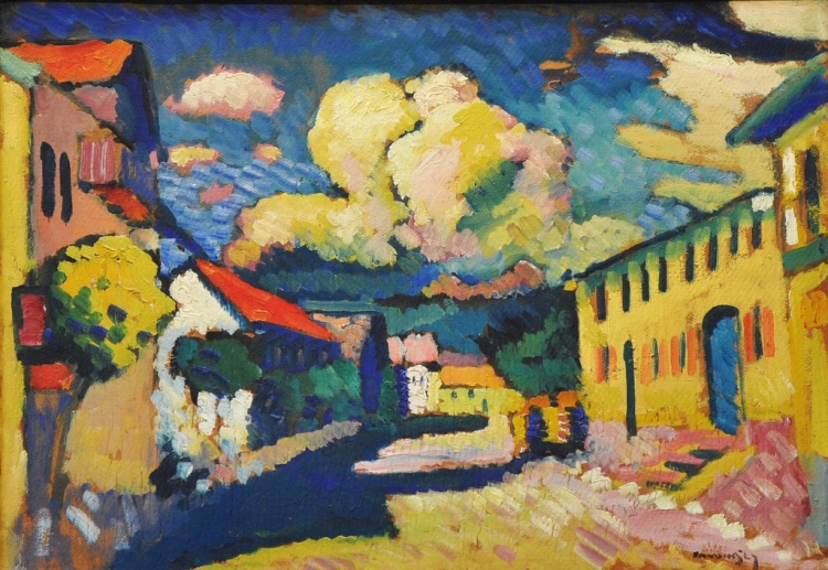 Wassily Kandinsky, 'Murnau, Dorfstrasse (Street in Murnau, A Village Street)', 1908, oil on cardboard, later mounted on wood panel, Merzbacher collection, Switzerland 'This discovery struck me with terrific impact, comparable to that of the end of the world. In the twinkling of an eye, the mighty arches of science lay shattered before me. All things became flimsy, with no strength or certainty. I would hardly have been surprised if the stones had risen in the air and disappeared. To me, science had been destroyed.' Kandinsky in response to Rutherford's 'disintegration' of the atom, which was instrumental in his move to abstraction.