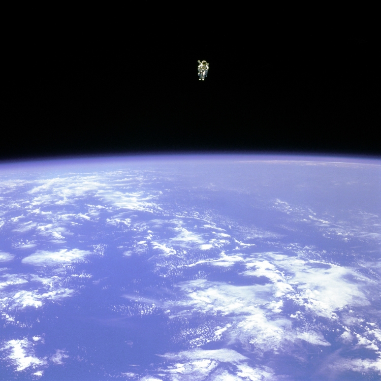 To Fly Free in Space: Bruce McCandless II about 100 metres from space shuttle Challenger