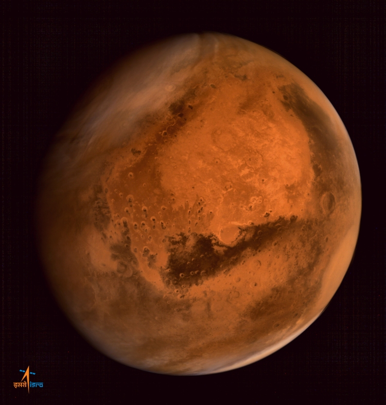 Dust storm activity over Northern Hemisphere of Mars, captured by Mars Colour Camera on-board Indian Mars Orbiter Spacecraft from altitude of 74500 km on 28.09.14
