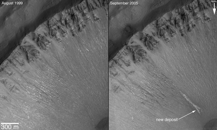 1. Light Deposits Indicate Water Flowing on Mars