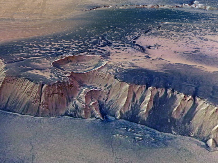 High Cliffs Surrounding Echus Chasma on Mars