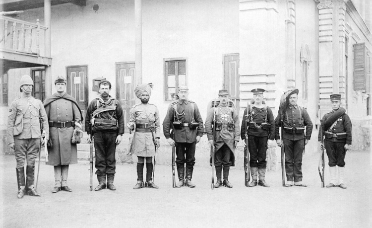 Troops of the alliance in 1900: L to R: British, American, Russian, Indian, German, French, Austro-Hungarian, Italian, Japanese