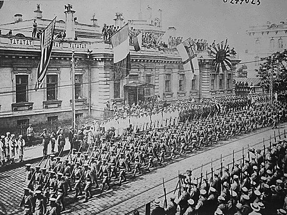 Vladivostok, Russia, Soldiers and sailors from many countries are lined up in front of the Allies' Headquarters Building.