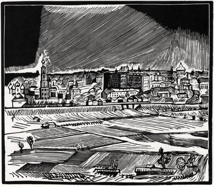 Vladimir Favorsky, View of Moscow from the Vorobyov Hills. From the series Views of Moscow. 1918. Xylograph