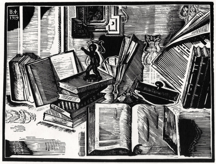 Vladimir Favorsky, Still Life with Books, 1919, Xylograph
