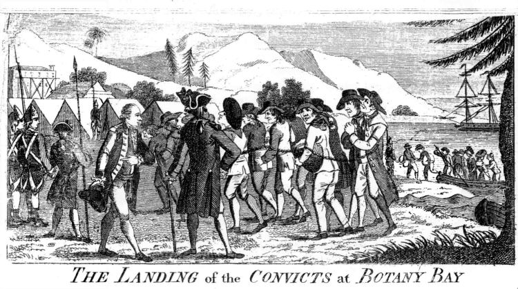 'Landing of Convicts at Botany Bay' from Watkin Tench's 'A Narrative of the Expedition to Botany Bay', 1789