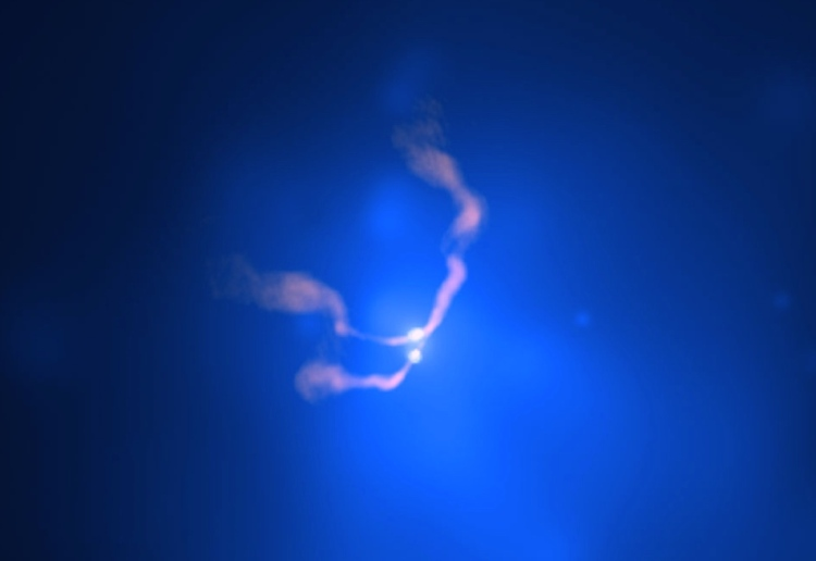 Two Black Holes Dancing in 3C 75. Particle jets are moving at 1200 kilometres per second.