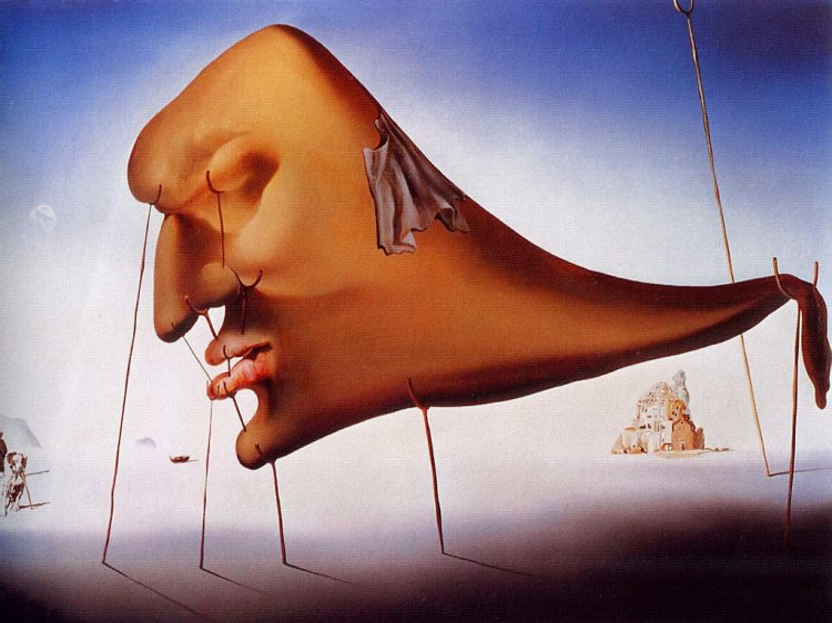Salvador Dali, Sleep, 1937, oil on canvas, Museum Boijmans Van Beuningen, Rotterdam. Dali stated 'I have often imagined the monster of sleep as a heavy, giant head with a tapering body held up by the crutches of reality.'