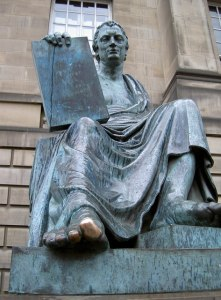 Statue of David Hume by Alexander Stoddart, 1995, bronze, in front of High Court Building, Edinburgh, Scotland