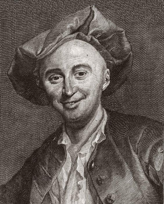 Julien Offray de La Mettrie (1709-1751). French materialist, published L'homme Machine (Man-Machine) in 1748. Gravure de Achille Ouvré (1872-1951) d'après G.-F. Schmidt.