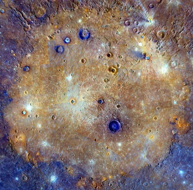 Enhanced colour Caloris on Mercury: one of the solar system's largest impact basins created during the early history of the solar system by the impact of a large asteroid-sized body. The basin spans about 1,500 kilometres. Click to enlarge
