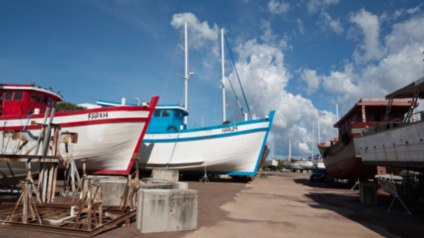 Two of the Vietnamese fishing boats in a Darwin boat yard on Thursday. Photo: Glenn Campbell
