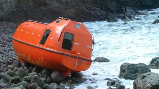 The single-use orange lifeboats. Photo: Michael Bachelard