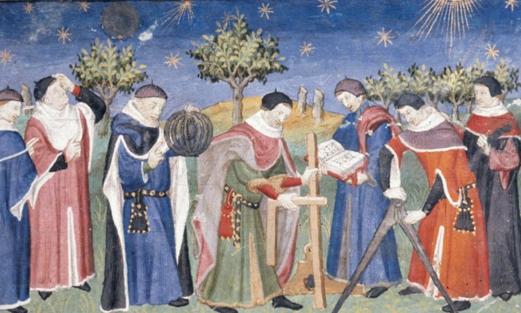Landscape with clerics studying astronomy and geometry, showing an armillary sphere, square, compasses, etc. La Vraye Histoire du Bon Roy Alixandre (The Alexander Romance in Old French prose), Pseudo-Callisthenes, French, early 15th century