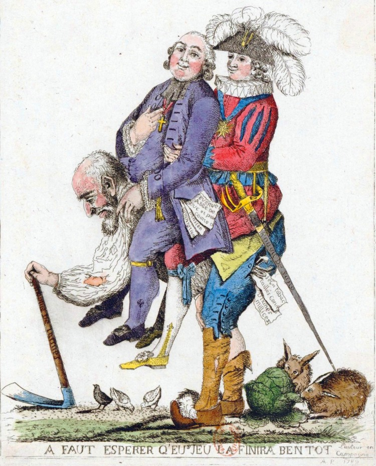 'You should hope that this game will be over soon.' The Third Estate carrying the clergy and the nobility on its back, 1789