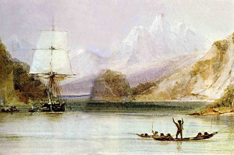 HMS Beagle in the seaways of Tierra del Fuego. Watercolour painted by Conrad Martens during the voyage, 1831-1836.
