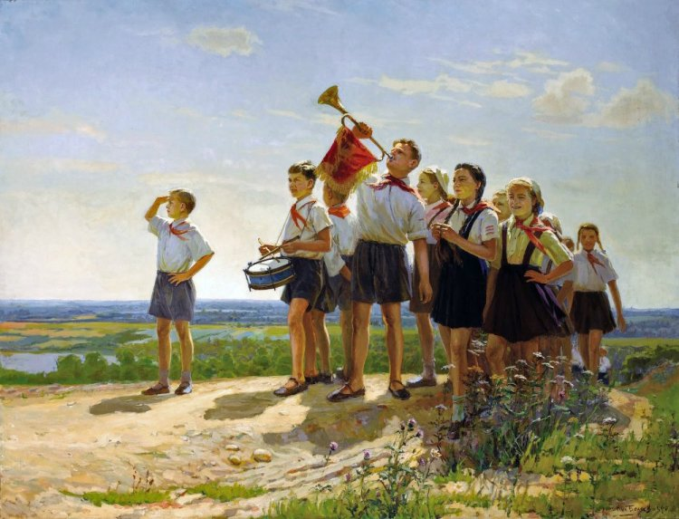 Nikolai Yakovlevich Belyaev, 'They are Happy', oil on canvas, 1949. 'A scene of joyous, patriotic children, the work is full of life and colour.'
