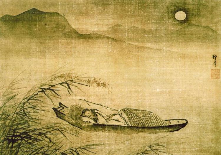 Fishing Boat Anchored on a Moonlit Night, by Bai Jin, (1388-1462)