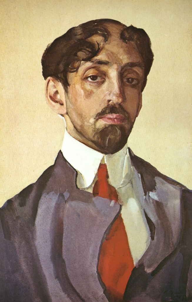 Konstantin Somov, Portrait of Mikhail Kuzmin, 1909. Water-colours, gouache and whiting on paper pasted on cardboard. The Tretyakov Gallery