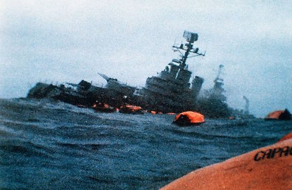 The sinking of the Belgrano in the 1982 Falklands War. 323 crewmembers died.