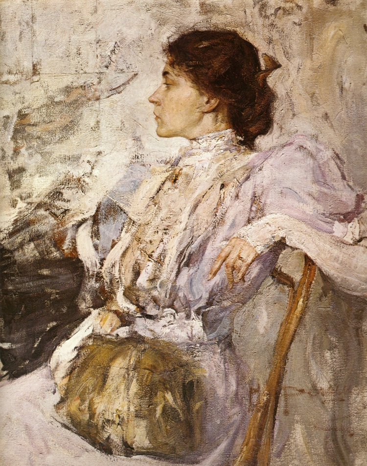 Nikolai Feshin, Portrait of a Woman, 1908. Oil on canvas. The Russian Museum