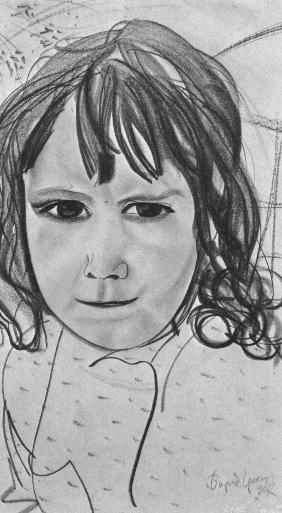 Boris Grigoryev, A Girl, 1917. Lead pencil on paper. The Russian Museum