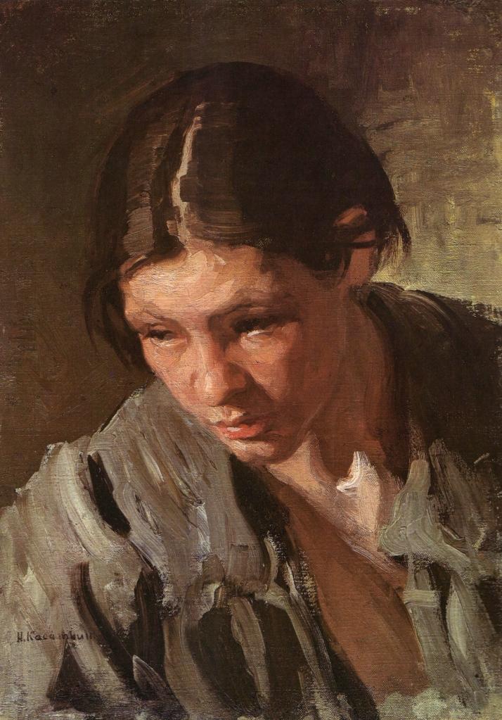 Nikolai Kasatkin, Peat-worker. Study, 1901. Oil on canvas pasted on cardboard. The Russian Museum