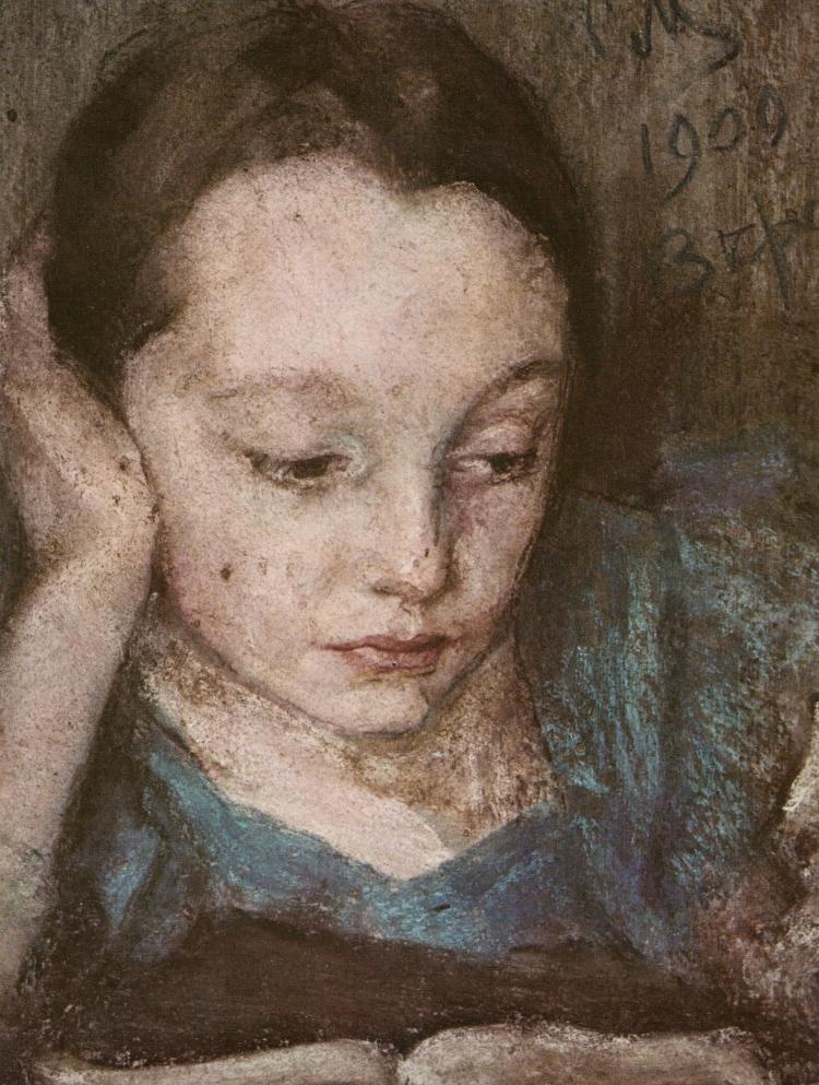 Sergei Maliutin, Portrait of Vera Maliutina, the Artist's Daughter, 1909. Pastel on cardboard. The Russian Museum