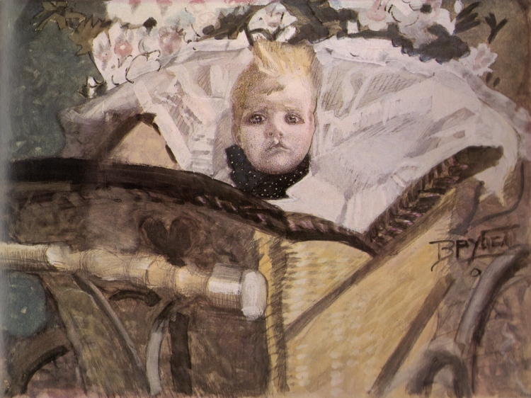 Mikhail Vrubel, Portrait of the Artist's Son in a Pram, 1902. Water-colours, whiting and lead pencil on paper pasted on cardboard. The Russian Museum