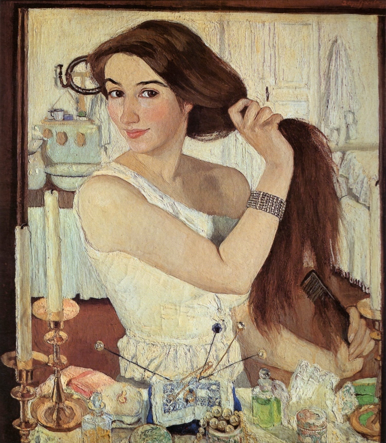 Zinaida Serebriakova, Making Her Toilet, 1909. Oil on canvas pasted on cardboard. The Tretyakov Gallery