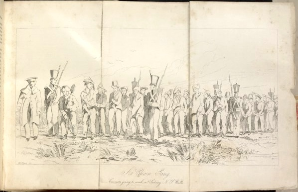 Edward Backhouse 'A chain gang, convicts going to work near Sidney [sic], New South Wales', etching, 1843, National Library of Australia. Text below image: 'You may save or print this image for research and study. If you wish to use it for any other purposes, you must declare your Intention to Publish.'