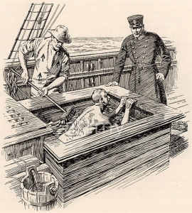 'Salt bath' torture of a convict after being flogged, during transportation to Australia in the 19th century.
