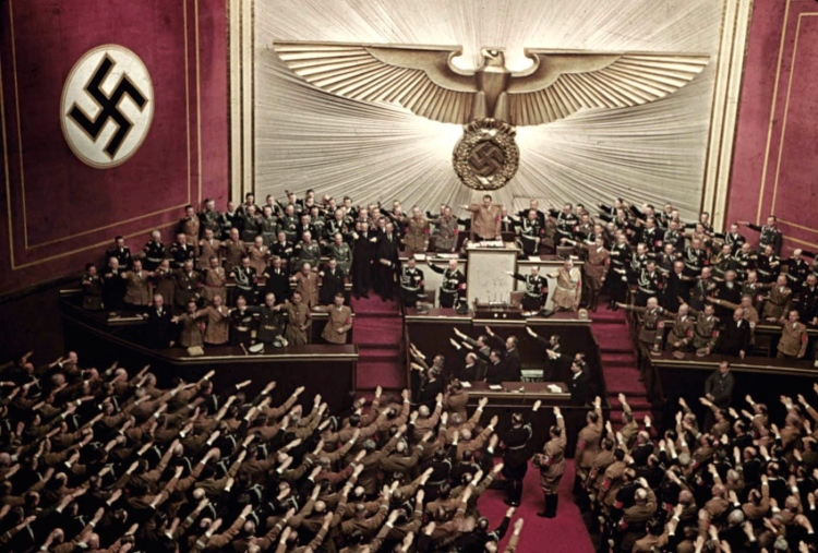 Adolf Hitler makes keynote address at Reichstag session, Kroll Opera House, Berlin, 1939
