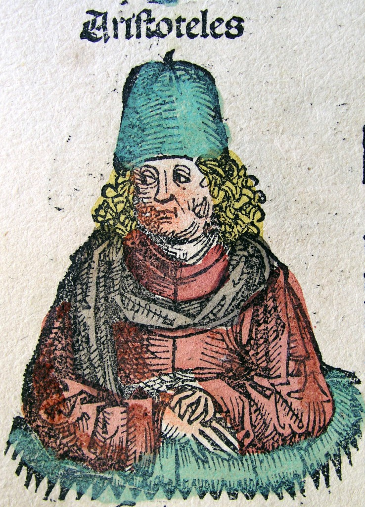Aristotle portrayed in the 1493 Nuremberg Chronicle as a scholar of the 15th century AD.